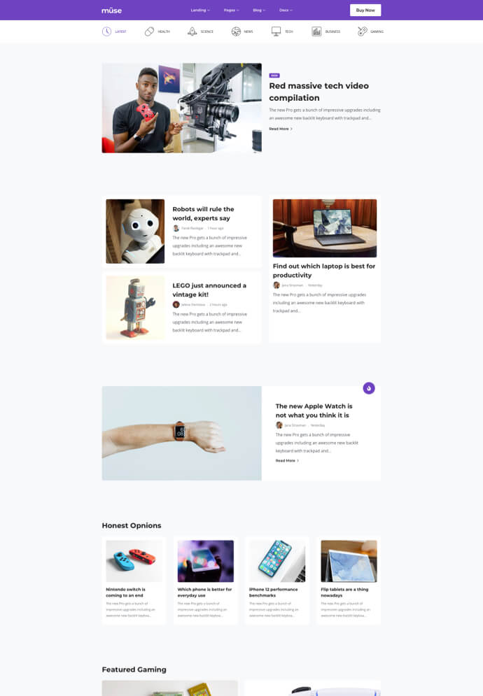 Müse – Bootstrap Template and Multipurpose UI Kit